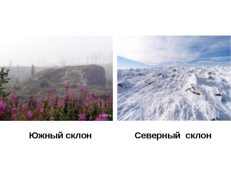 Южный склон Северный склон
