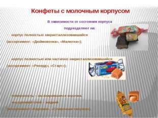 Конфеты с молочным корпусом В зависимости от состояния корпуса подразделяют н