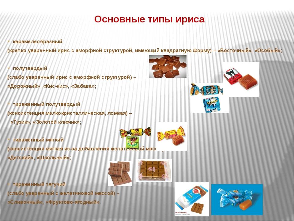 Основные типы ириса карамелеобразный (крепко уваренный ирис с аморфной структ...
