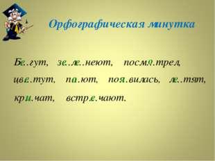Орфографическая минутка Б…гут, з…л…неют, кр…чат, посм…трел, цв…тут, п…ют, по…