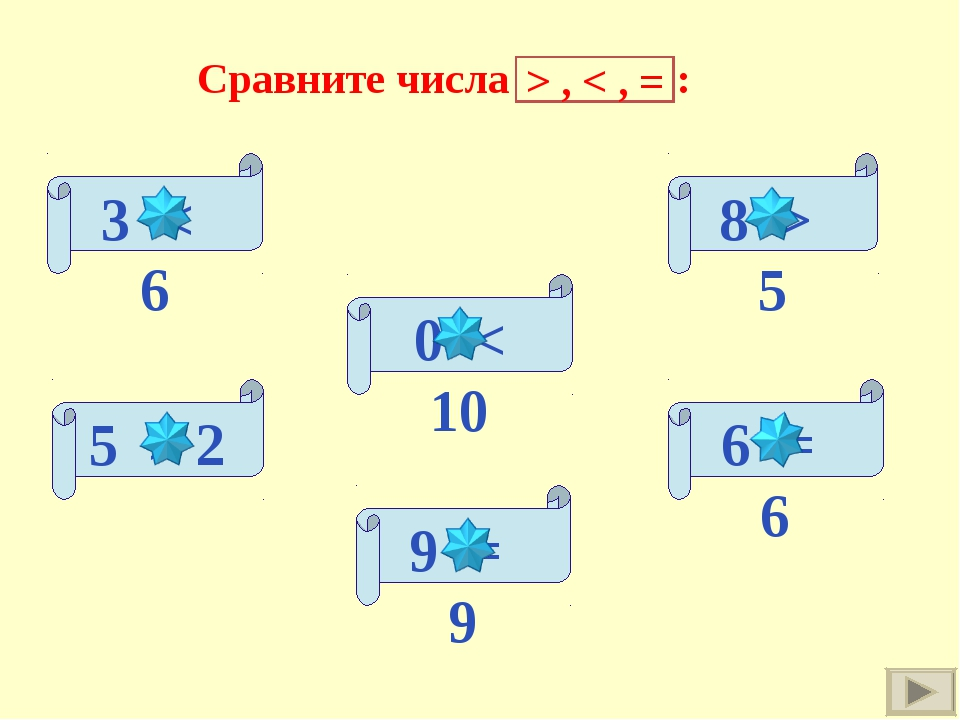 3 < 6 5 > 2 0 < 10 6 = 6 8 > 5 9 = 9