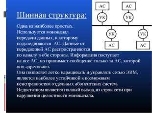 Шинная структура: Одна из наиболее простых. Используется моноканал передачи д