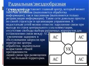 Радиальная/звездообразная структура Основу сетей составляет главный центр, ко