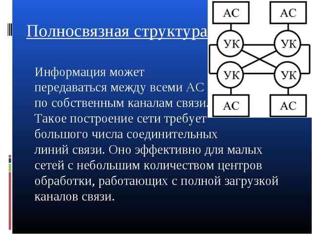 Полносвязная структура: Информация может передаваться между всеми АС по собст...