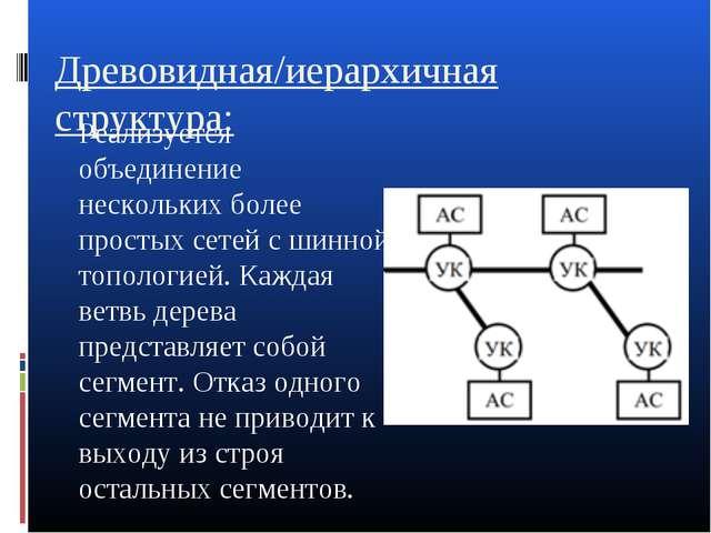 Древовидная/иерархичная структура: Реализуется объединение нескольких более п...