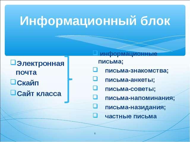 Информационный блок Электронная почта Скайп Сайт класса информационные письма...