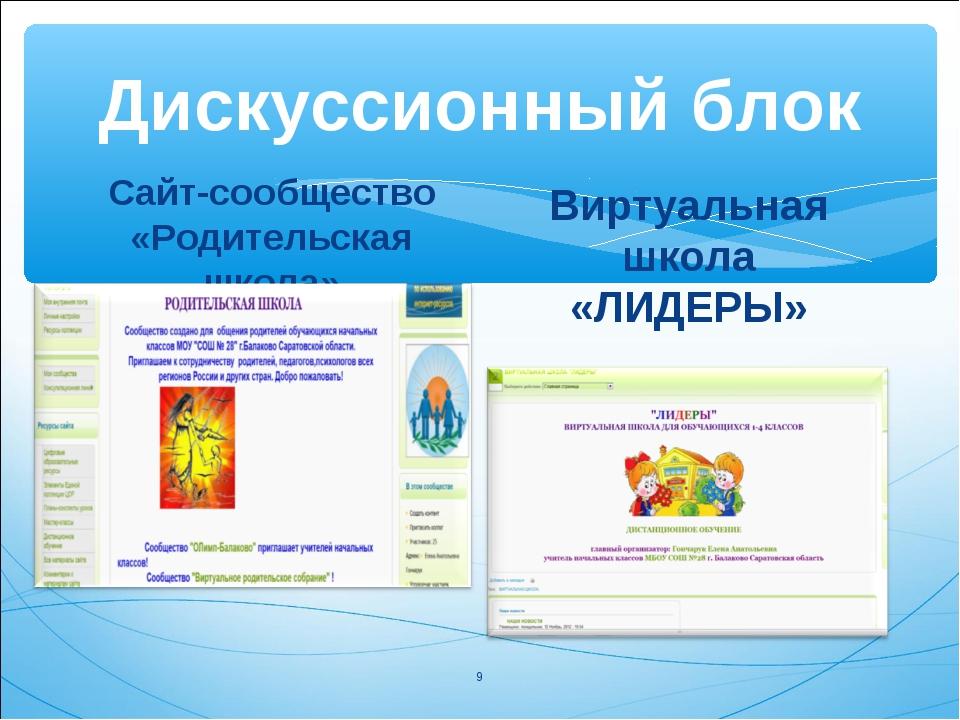 Дискуссионный блок Сайт-сообщество «Родительская школа» Виртуальная школа «ЛИ...