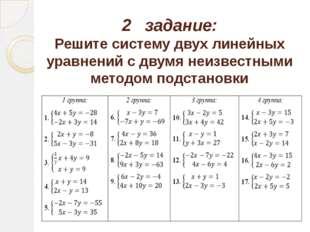 2 задание: Решите систему двух линейных уравнений с двумя неизвестными методо