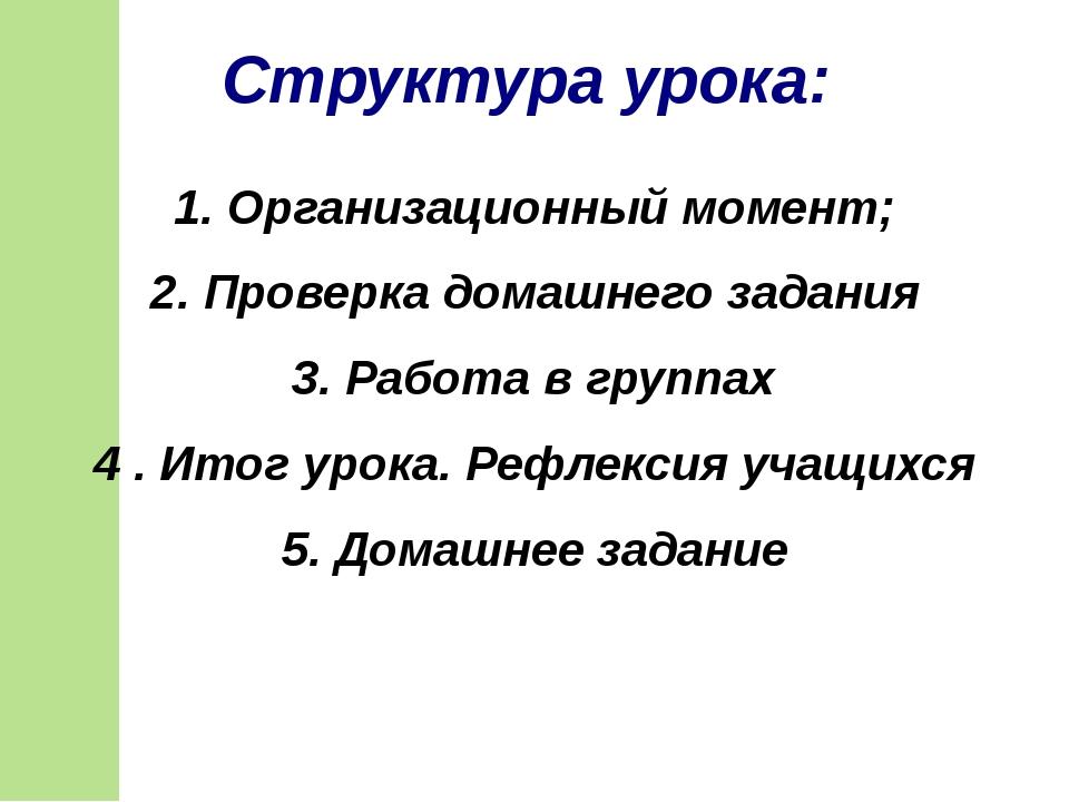 1. Организационный момент; 2. Проверка домашнего задания 3. Работа в группах...