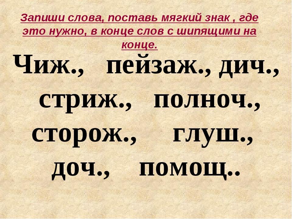 с ж.р знаком слова мягким