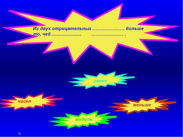 Из двух отрицательных ………………… больше то, чей ....................... …………………...