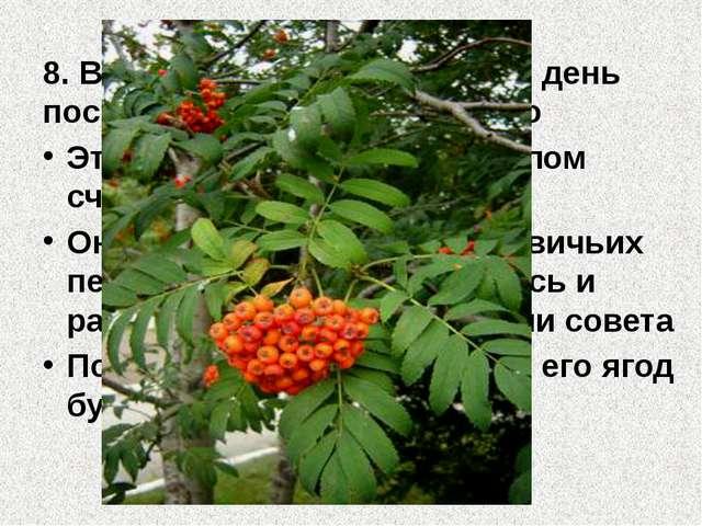 8. В народном календаре есть день посвященный этому растению Это деревце счит...