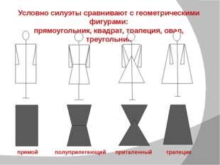 Условно силуэты сравнивают с геометрическими фигурами: прямоугольник, квадрат