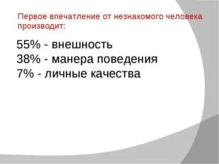 55% - внешность 38% - манера поведения 7% - личные качества Первое впечатлени