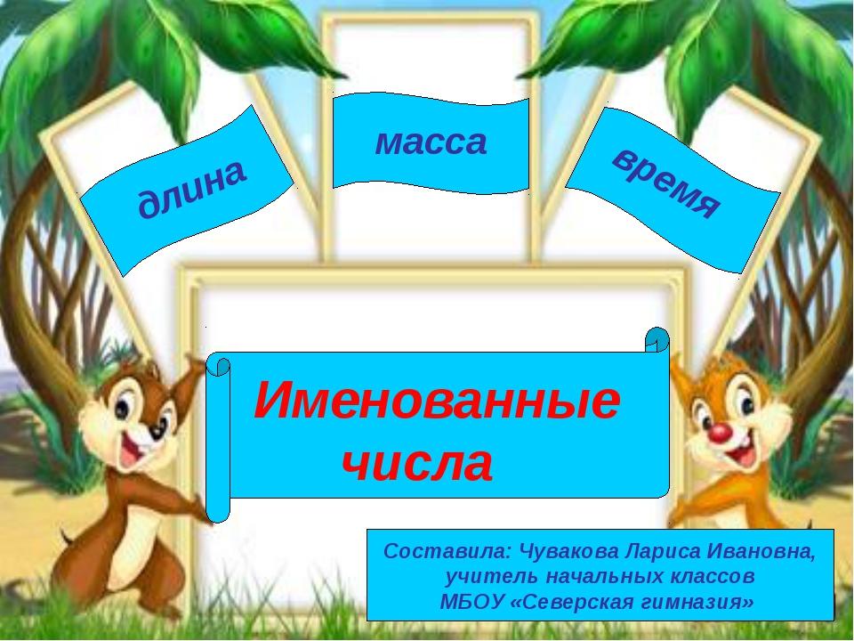 Именованные числа длина масса время Составила: Чувакова Лариса Ивановна, учит...