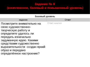 автор: Старцева Марина Сергеевна Задание № 8 (комплексное, базовый и повышенн