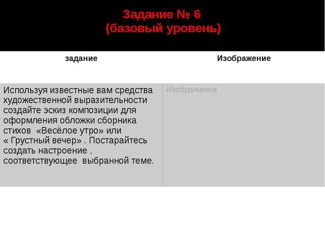 Задание № 6 (базовый уровень) автор: Старцева Марина Сергеевна задание Изобра...