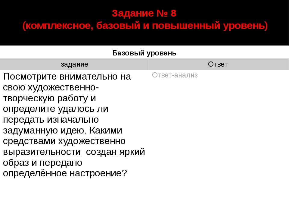 автор: Старцева Марина Сергеевна Задание № 8 (комплексное, базовый и повышенн...