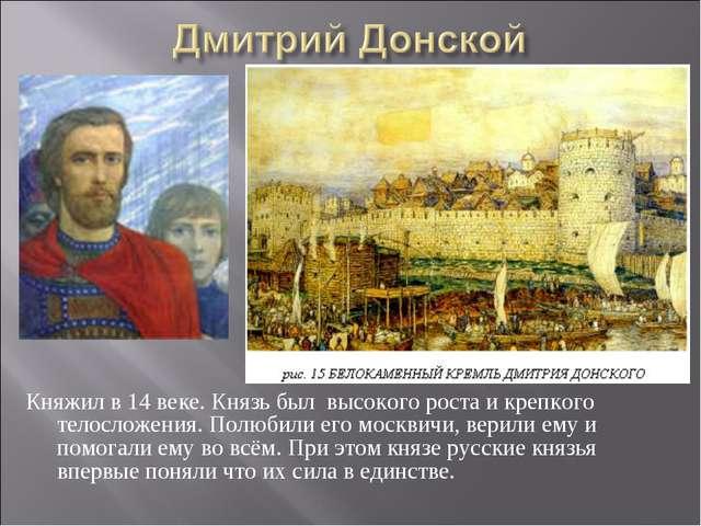 Княжил в 14 веке. Князь был высокого роста и крепкого телосложения. Полюбили...
