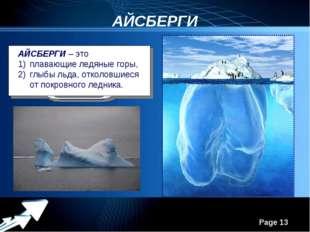 АЙСБЕРГИ АЙСБЕРГИ – это плавающие ледяные горы, глыбы льда, отколовшиеся от п