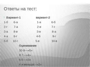 Ответы на тест: Вариант-1 вариант-2 1-б 6-а 1-а 6-б 2-г 7-а 2-в 7-г 3-а 8-в 3