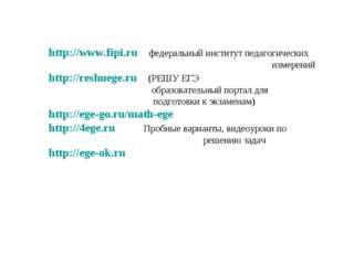 http://www.fipi.ru федеральный институт педагогических измерений http:/