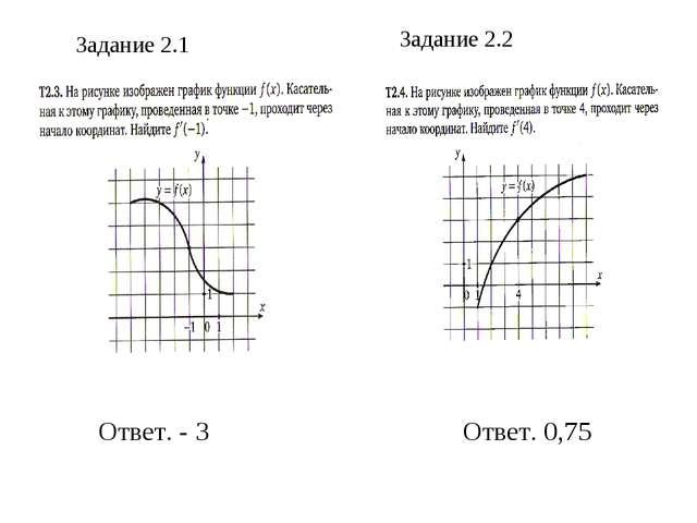 Задание 2.1 Задание 2.2 Ответ. - 3 Ответ. 0,75