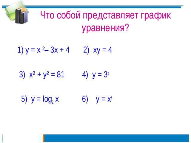 Что собой представляет график уравнения? 1) у = х ²– 3х + 4 2) ху = 4 3) х² +...