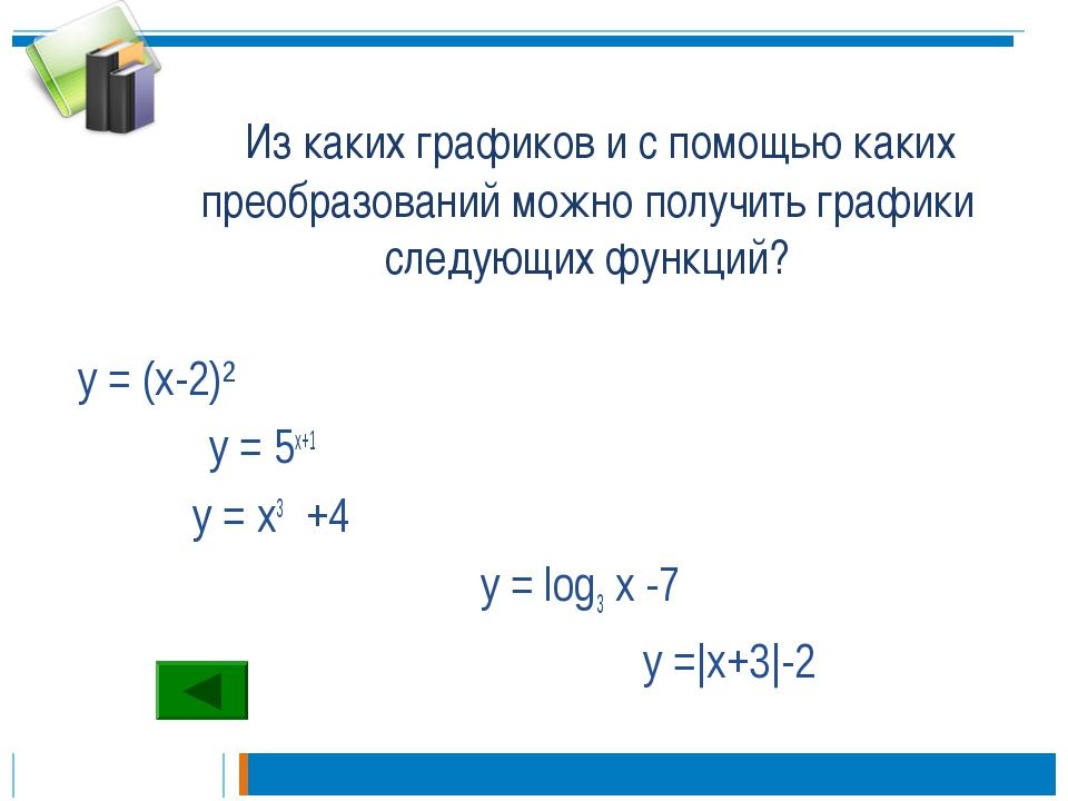 Из каких графиков и с помощью каких преобразований можно получить графики сл...