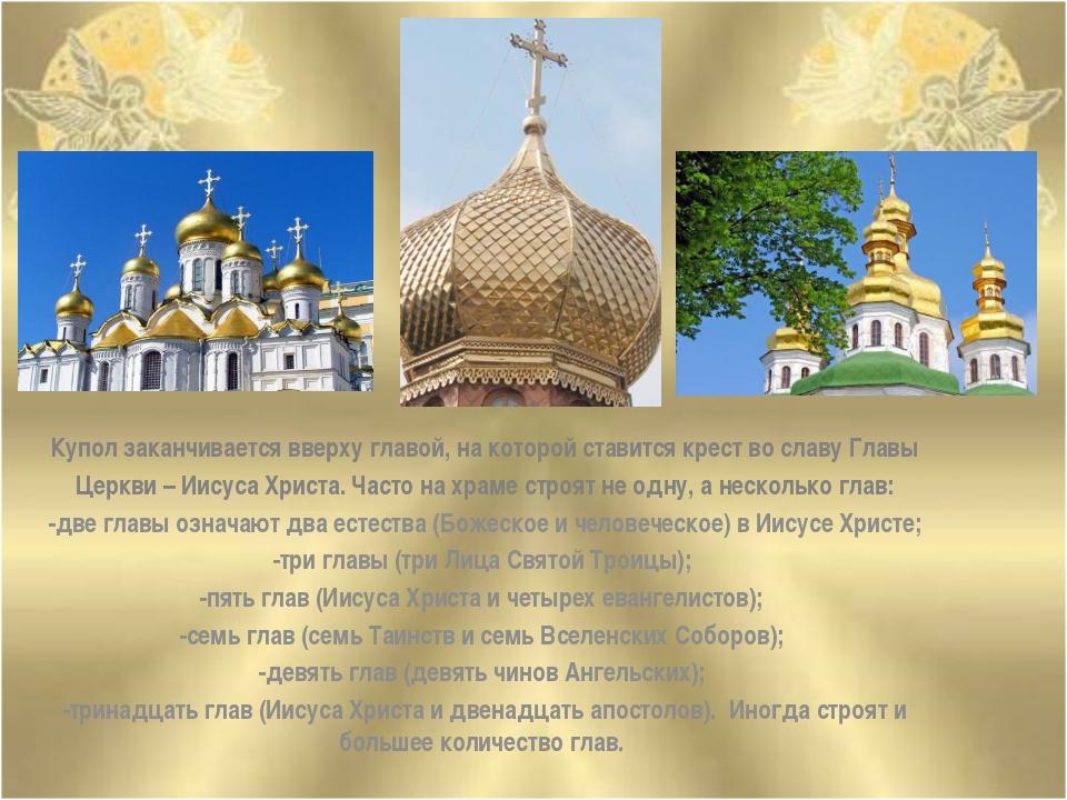 Купол заканчивается вверху главой, на которой ставится крест во славу Главы Ц...