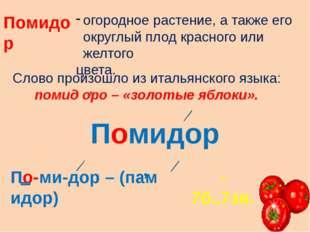 Помидор огородное растение, а также его округлый плод красного или желтого цв