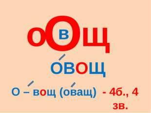 О в о щ ОВОЩ О – вощ (оващ) - 4б., 4 зв.