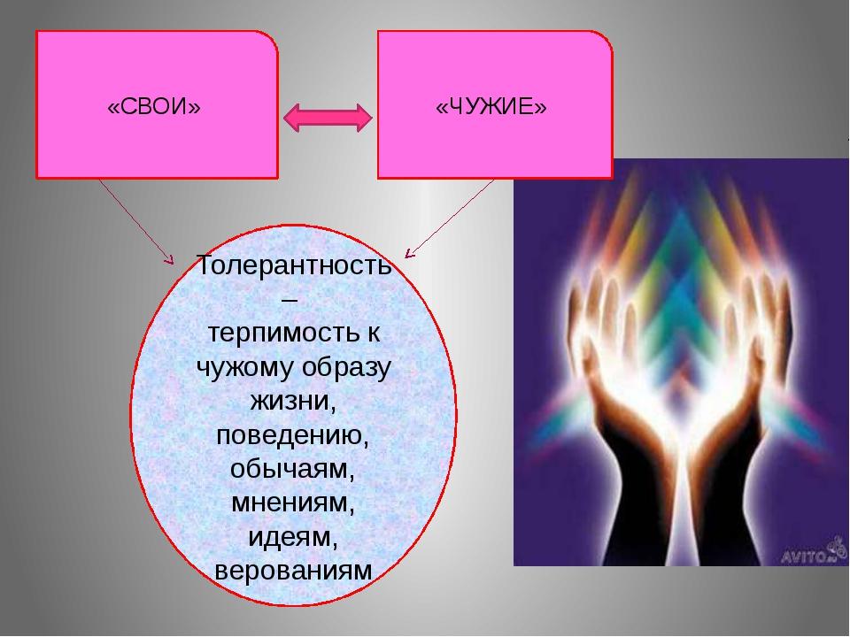 Толерантность – терпимость к чужому образу жизни, поведению, обычаям, мнения...