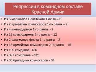 Репрессии в командном составе Красной Армии Из 5 маршалов Советского Союза –