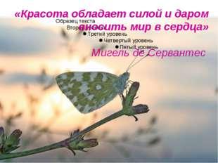 «Красота обладает силой и даром вносить мир в сердца» Мигель де Сервантес