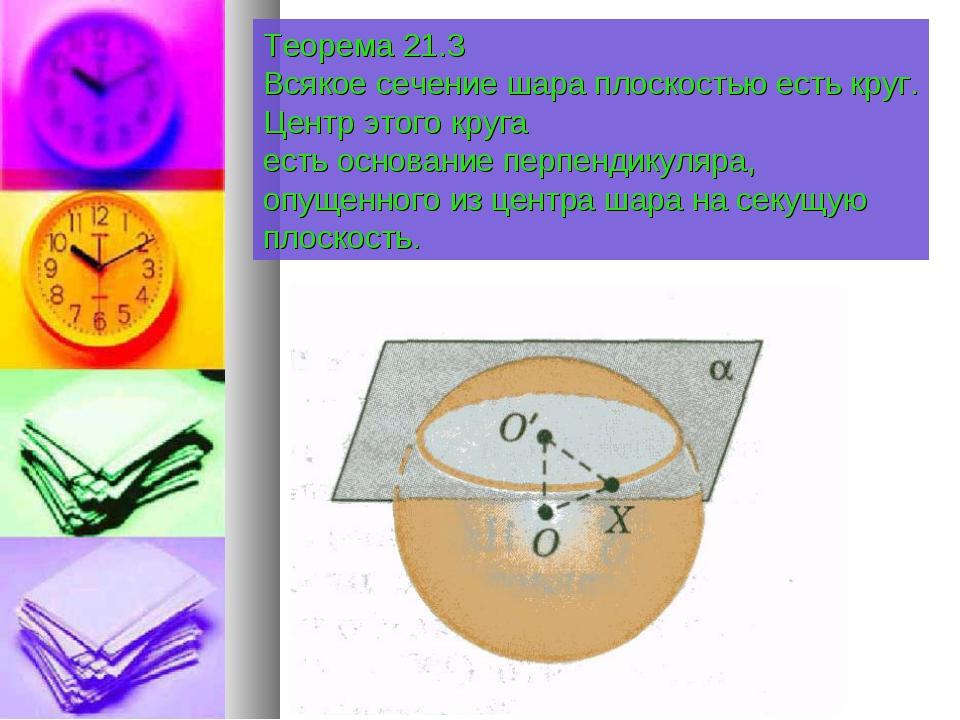 Теорема 21.3 Всякое сечение шара плоскостью есть круг. Центр этого круга есть...