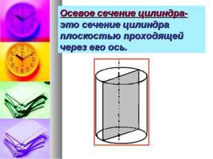 Осевое сечение цилиндра- это сечение цилиндра плоскостью проходящей через его
