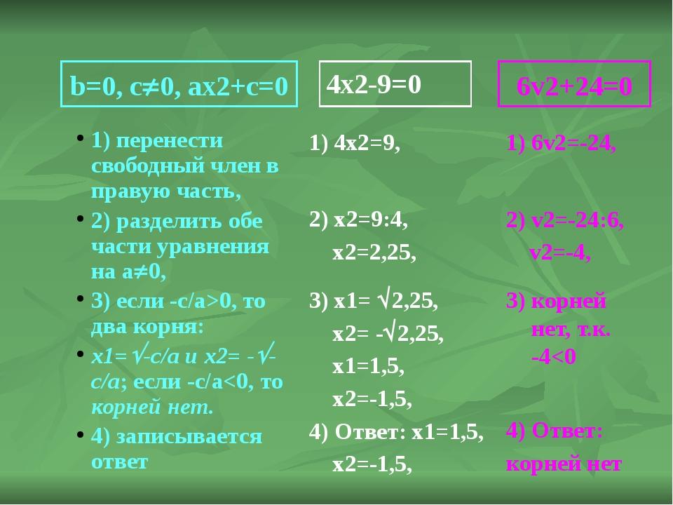 b=0, c0, ax2+c=0 1) перенести свободный член в правую часть, 2) разделить об...