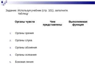 Задание: Используя учебник (стр. 101), заполните таблицу Органы чувствЧем пр