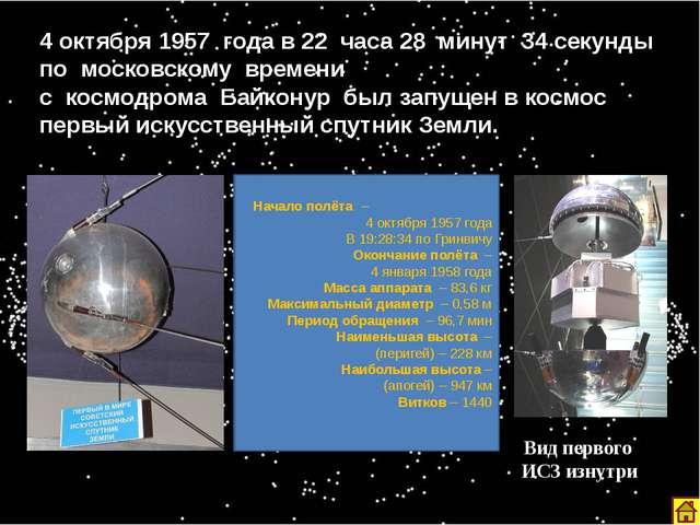 4 октября 1957 года в 22 часа 28 минут 34 секунды по московскому времени с ко...
