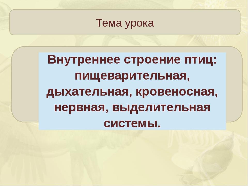 Тема урока Зорина Наталья Николаевна Внутреннее строение птиц: пищеварительн...