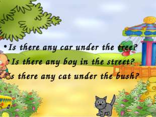 Is there any car under the tree? Is there any boy in the street? Is there any