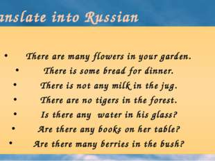 Translate into Russian There are many flowers in your garden. There is some b