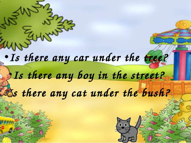 Is there any car under the tree? Is there any boy in the street? Is there any...