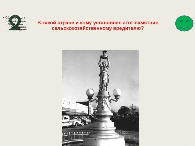 В какой стране и кому установлен этот памятник сельскохозяйственному вредител...