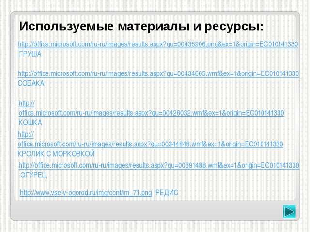 Используемые материалы и ресурсы: http://www.calorizator.ru/sites/default/fil...