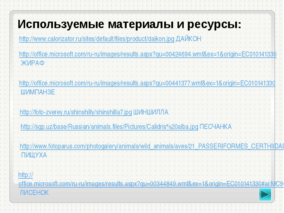 Используемые материалы и ресурсы: http://office.microsoft.com/ru-ru/images/re...