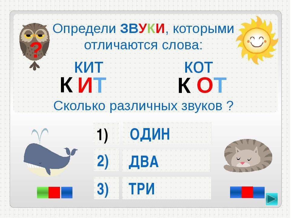 Определи ЗВУКИ, которыми отличаются слова: кит кот Сколько различных звуков ?...