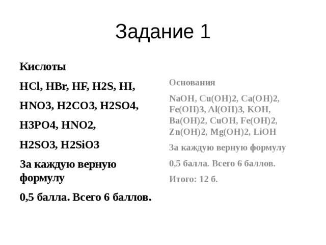 Задание 1 Кислоты HCl, HBr, HF, H2S, HI, HNO3, H2CO3, H2SO4, H3PO4, HNO2, H2S...