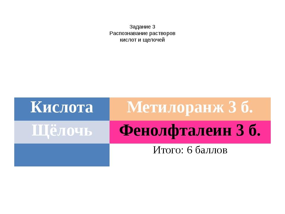 Задание 3 Распознавание растворов кислот и щелочей Кислота Метилоранж 3 б. Щ...